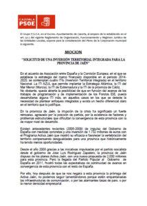 """""""SOLICITUD DE UNA INVERSIÓN TERRITORIAL INTEGRADA PARA LA PROVINCIA DE JAÉN"""""""