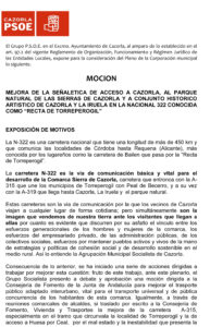 """MEJORA DE LA SEÑALETICA DE ACCESO A CAZORLA, AL PARQUE NATURAL DE LAS SIERRAS DE CAZORLA Y A CONJUNTO HISTORICO ARTISTICO DE CAZORLA Y LA IRUELA EN LA NACIONAL 322 CONOCIDA COMO """"RECTA DE TORREPEROGIL"""""""