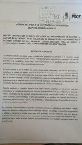 El Grupo PSOE - DEFENSA DEL SERVICIO DE LA EMPRESA PÚBLICA CORREOS